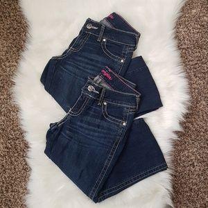 2 PAIR Wrangler Dark Blue Wash 1/2 x 32 Jeans